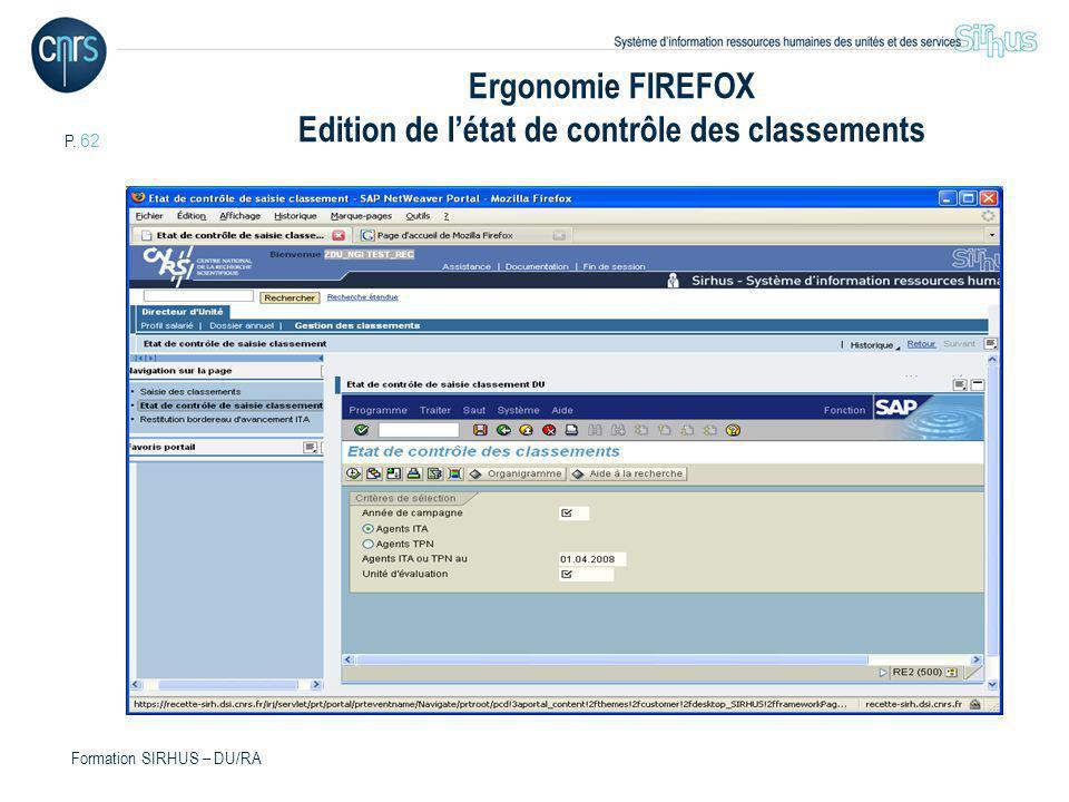 Ergonomie FIREFOX Edition de l'état de contrôle des classements
