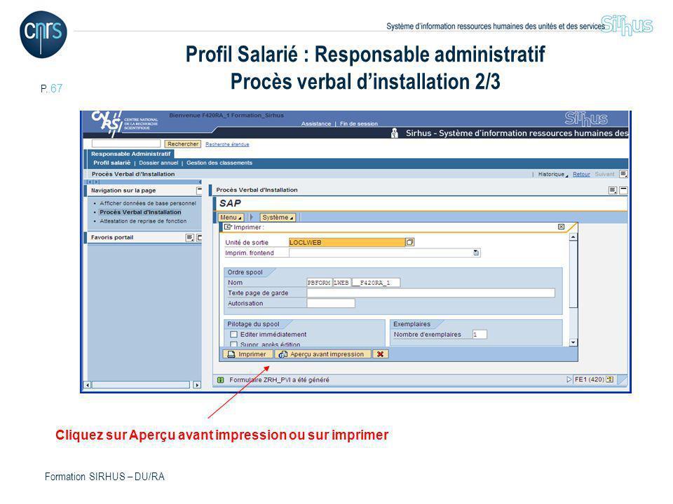 Profil Salarié : Responsable administratif Procès verbal d'installation 2/3