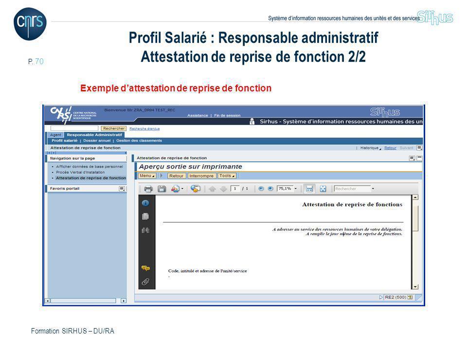 Profil Salarié : Responsable administratif Attestation de reprise de fonction 2/2