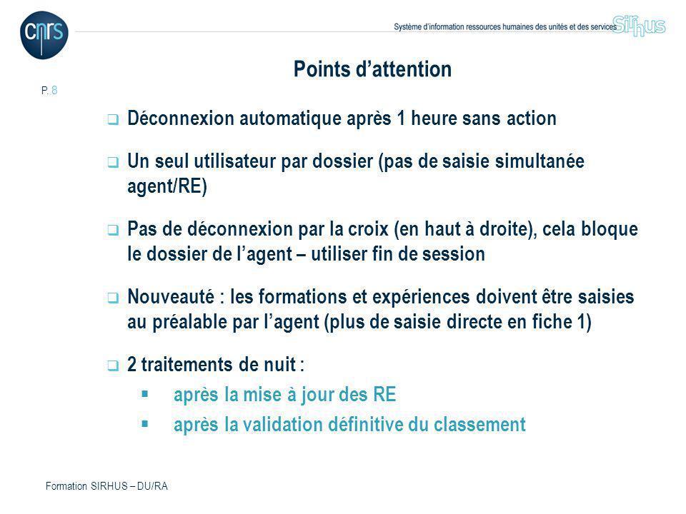 Points d'attention Déconnexion automatique après 1 heure sans action