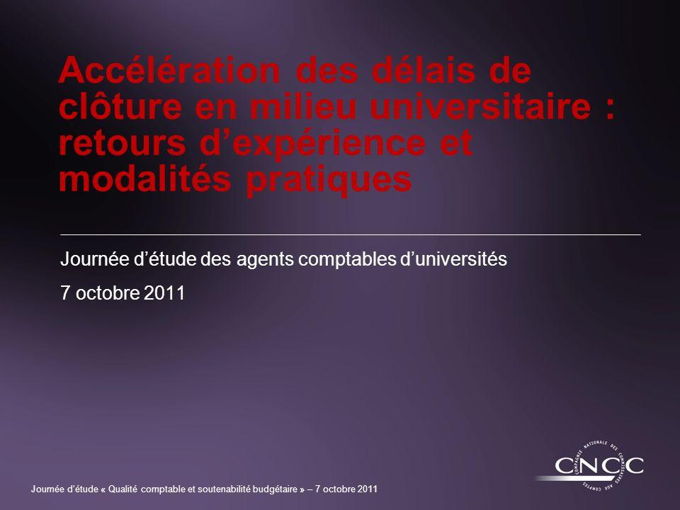 Journée d'étude des agents comptables d'universités 7 octobre 2011