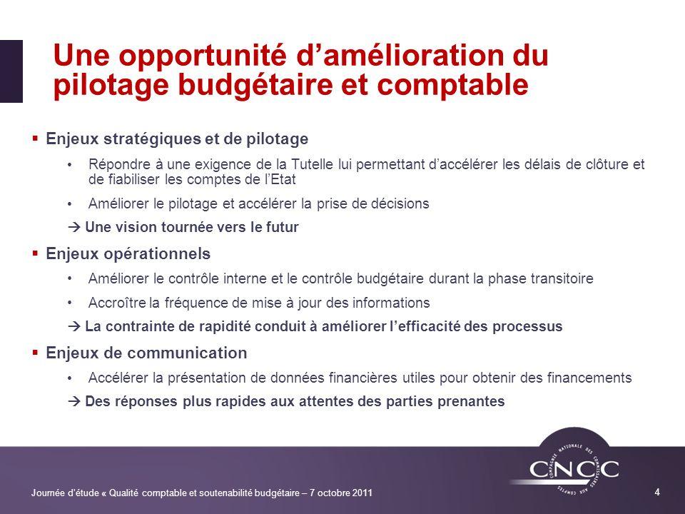 Une opportunité d'amélioration du pilotage budgétaire et comptable