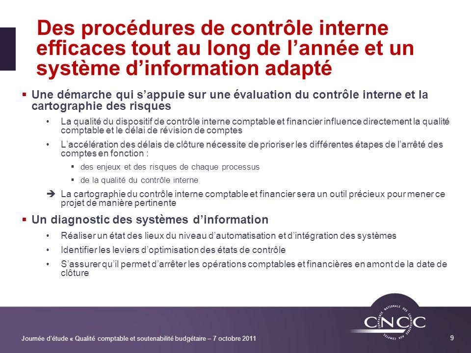 Des procédures de contrôle interne efficaces tout au long de l'année et un système d'information adapté