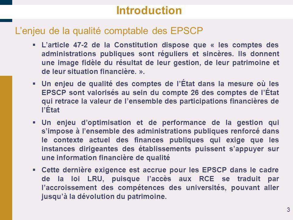 Introduction L'enjeu de la qualité comptable des EPSCP