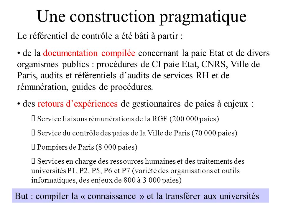 Une construction pragmatique