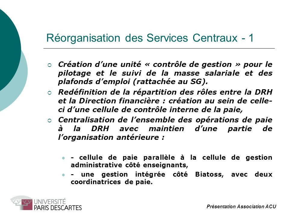 Réorganisation des Services Centraux - 1