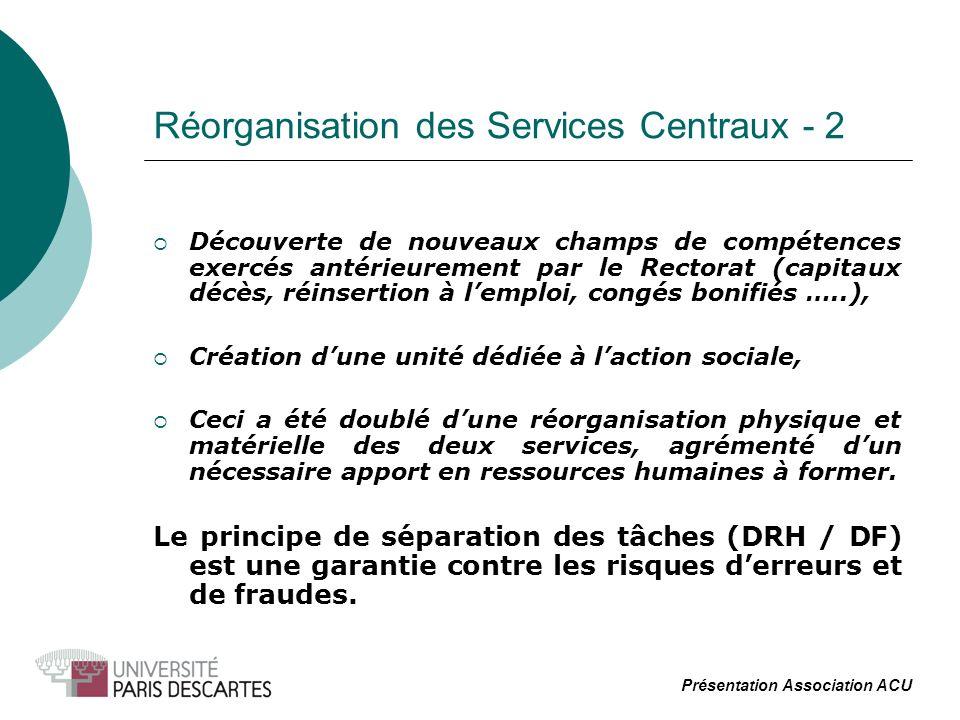 Réorganisation des Services Centraux - 2