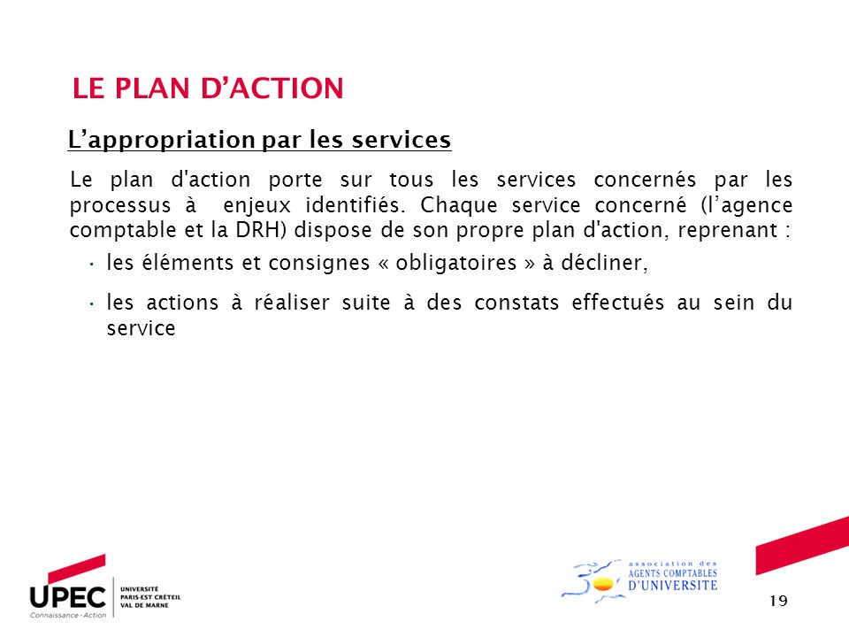 LE PLAN D'ACTION L'appropriation par les services