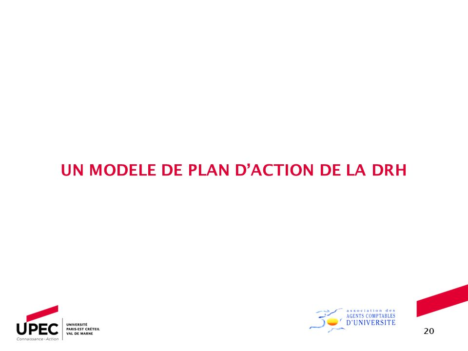 UN MODELE DE PLAN D'ACTION DE LA DRH