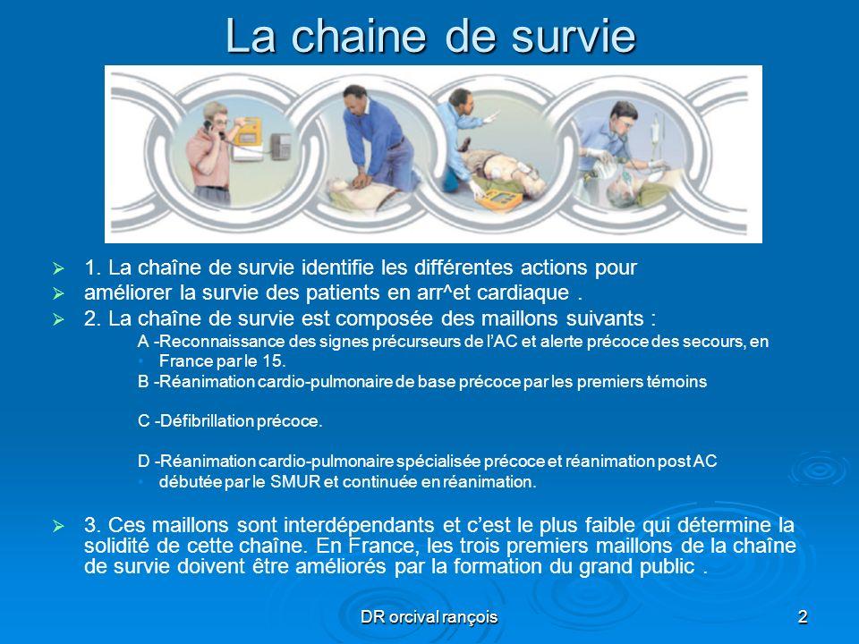 La chaine de survie1. La chaîne de survie identifie les différentes actions pour. améliorer la survie des patients en arr^et cardiaque .