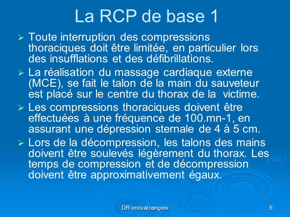 La RCP de base 1Toute interruption des compressions thoraciques doit être limitée, en particulier lors des insufflations et des défibrillations.