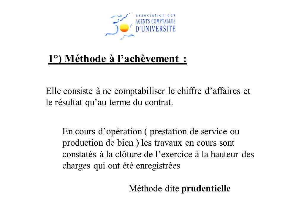 1°) Méthode à l'achèvement :