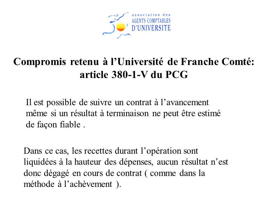 Compromis retenu à l'Université de Franche Comté: article 380-1-V du PCG