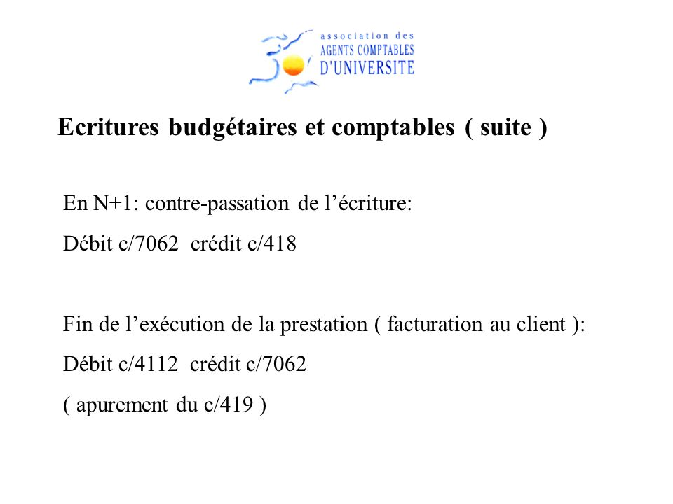 Ecritures budgétaires et comptables ( suite )