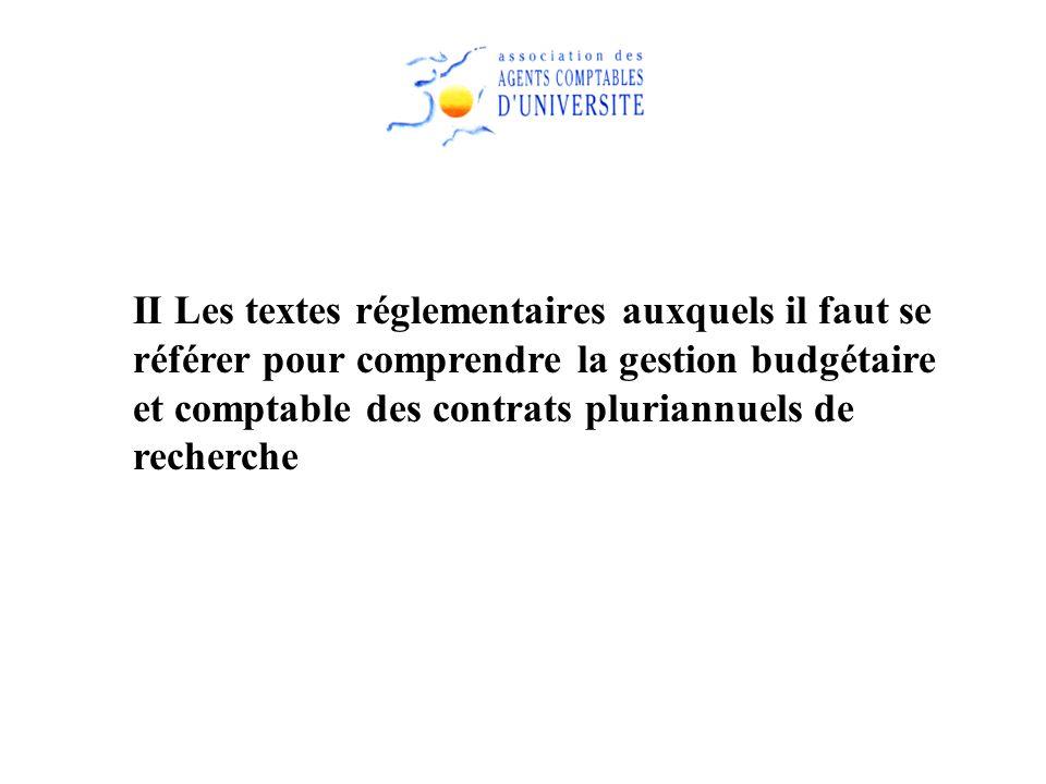 II Les textes réglementaires auxquels il faut se référer pour comprendre la gestion budgétaire et comptable des contrats pluriannuels de recherche
