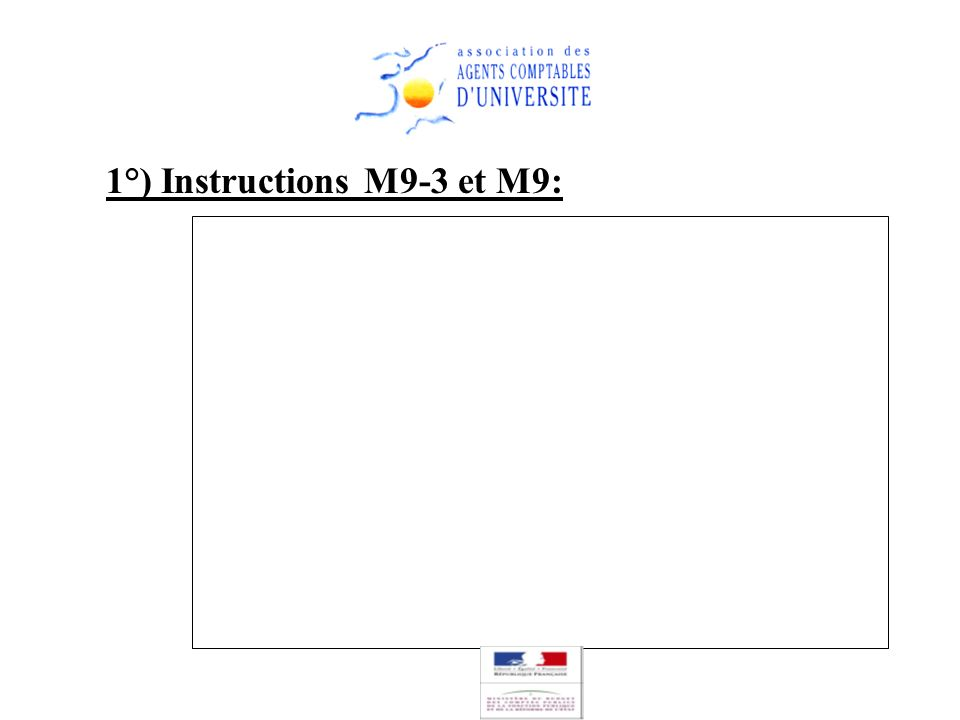 1°) Instructions M9-3 et M9: