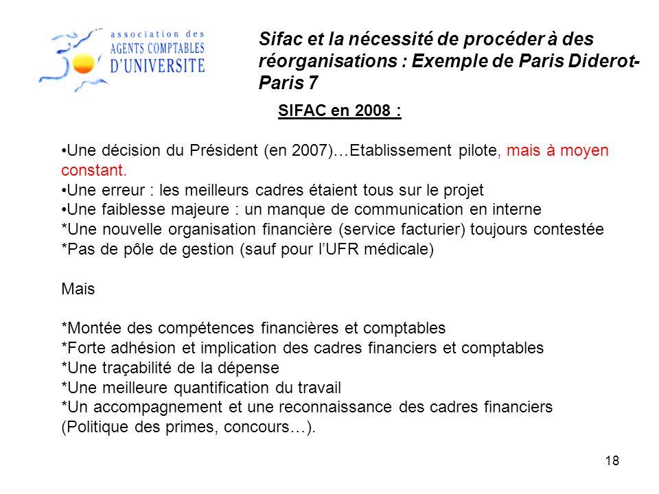 Sifac et la nécessité de procéder à des réorganisations : Exemple de Paris Diderot-Paris 7
