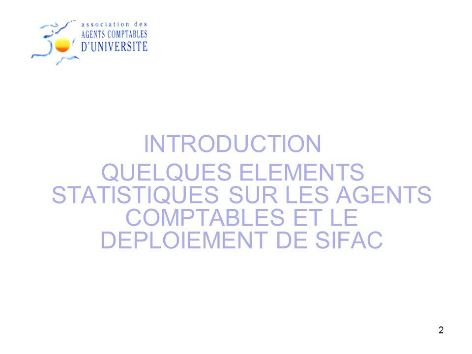 INTRODUCTION QUELQUES ELEMENTS STATISTIQUES SUR LES AGENTS COMPTABLES ET LE DEPLOIEMENT DE SIFAC 2