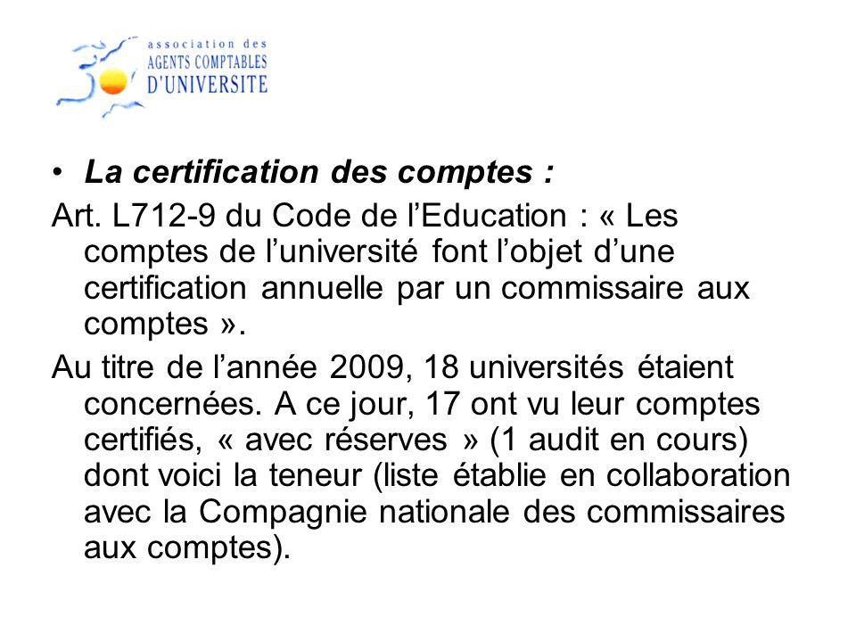 La certification des comptes :
