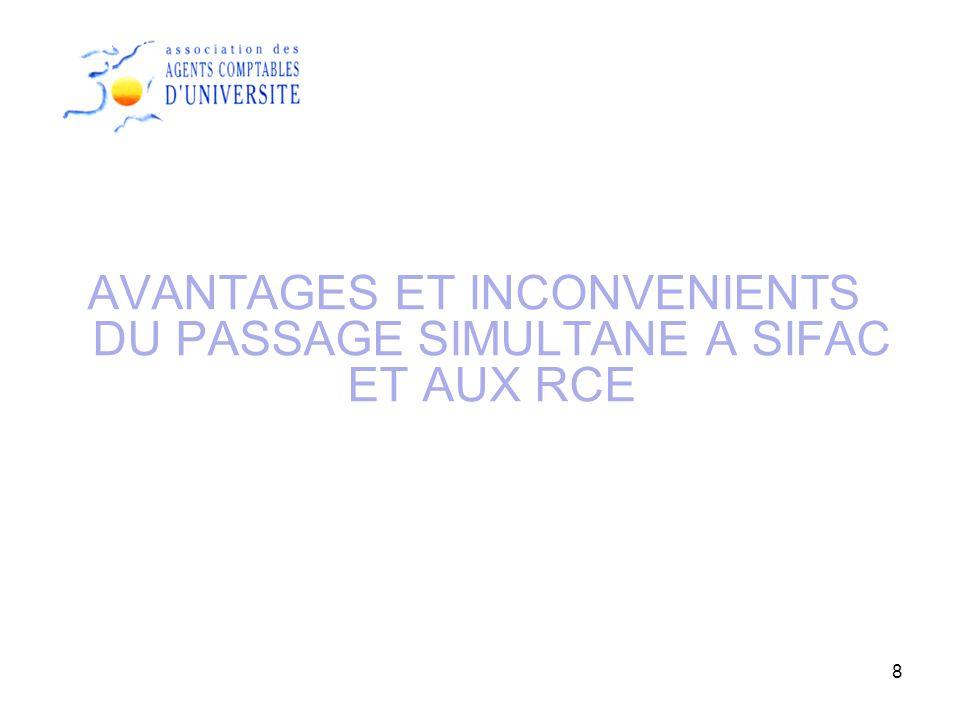 AVANTAGES ET INCONVENIENTS DU PASSAGE SIMULTANE A SIFAC ET AUX RCE