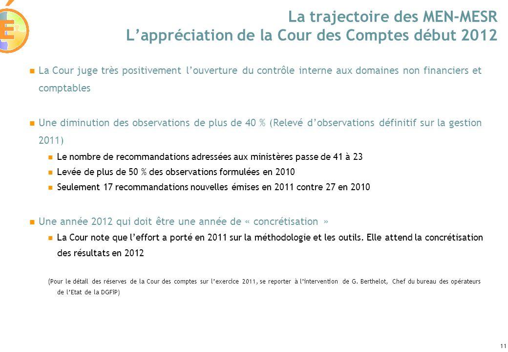 La trajectoire des MEN-MESR L'appréciation de la Cour des Comptes début 2012