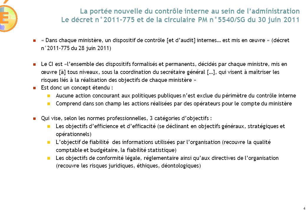 La portée nouvelle du contrôle interne au sein de l'administration Le décret n°2011-775 et de la circulaire PM n°5540/SG du 30 juin 2011