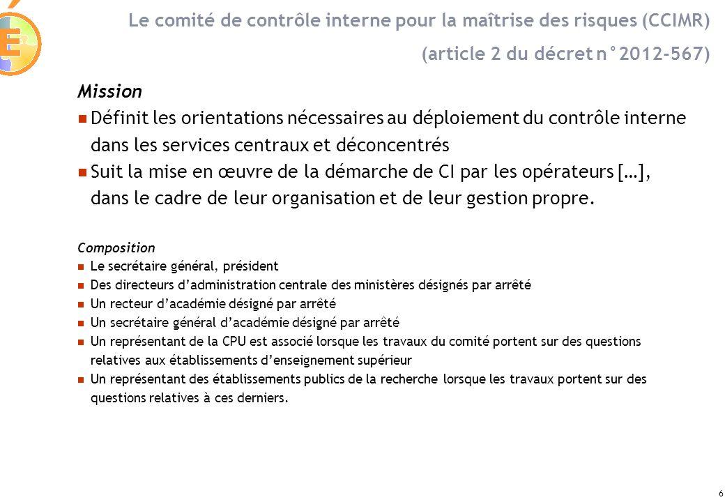 Le comité de contrôle interne pour la maîtrise des risques (CCIMR)