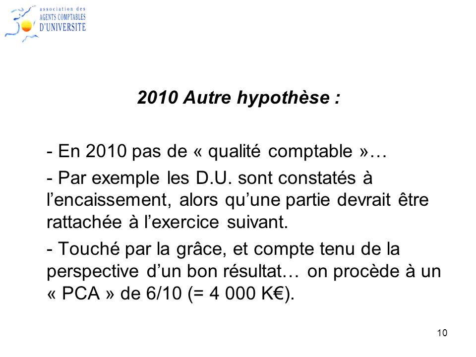 2010 Autre hypothèse : - En 2010 pas de « qualité comptable »…