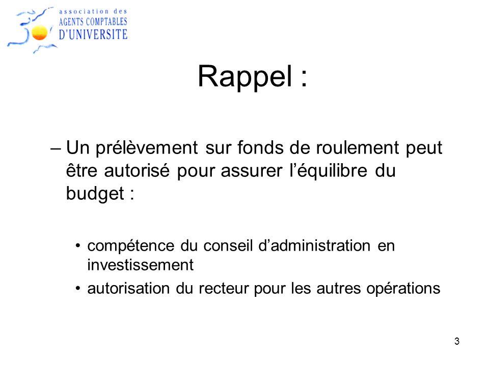 Rappel : Un prélèvement sur fonds de roulement peut être autorisé pour assurer l'équilibre du budget :