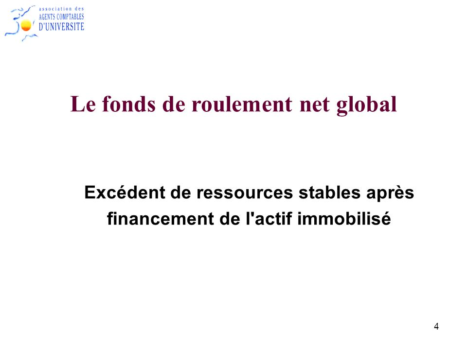 Le fonds de roulement net global