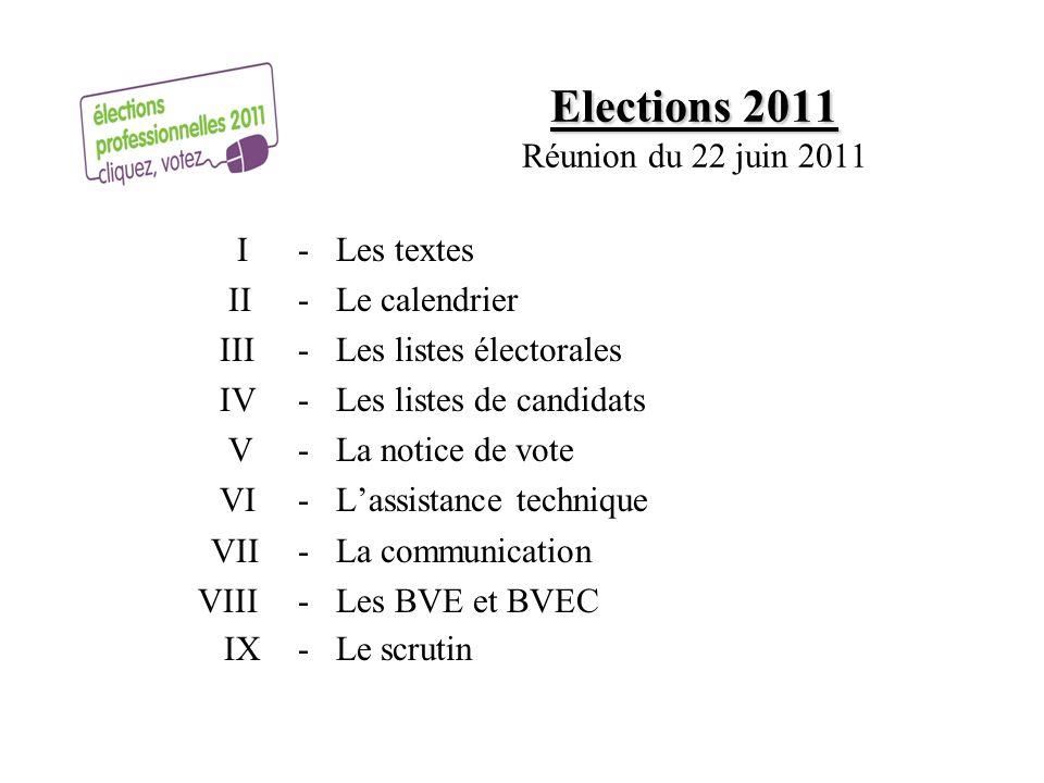 Elections 2011 Réunion du 22 juin 2011