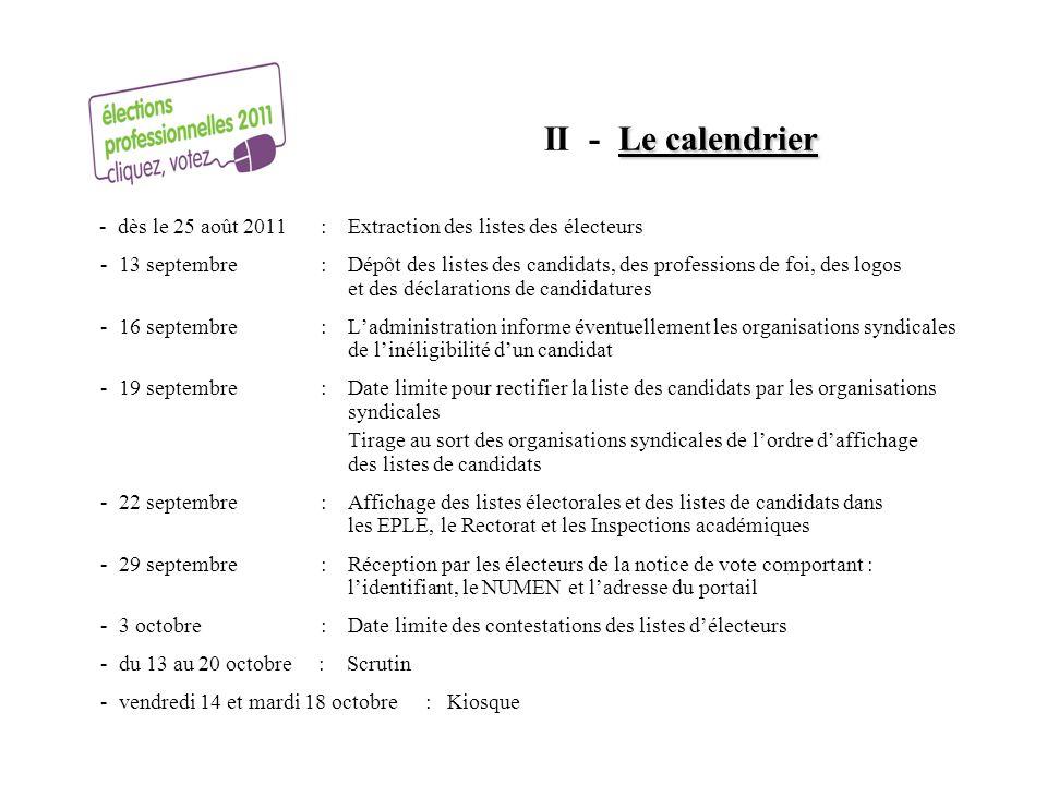 II - Le calendrier - dès le 25 août 2011 : Extraction des listes des électeurs.