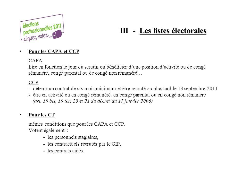 III - Les listes électorales