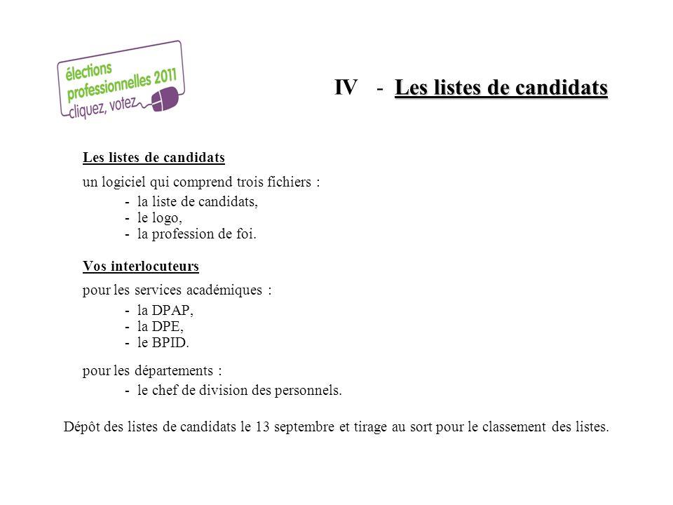 IV - Les listes de candidats