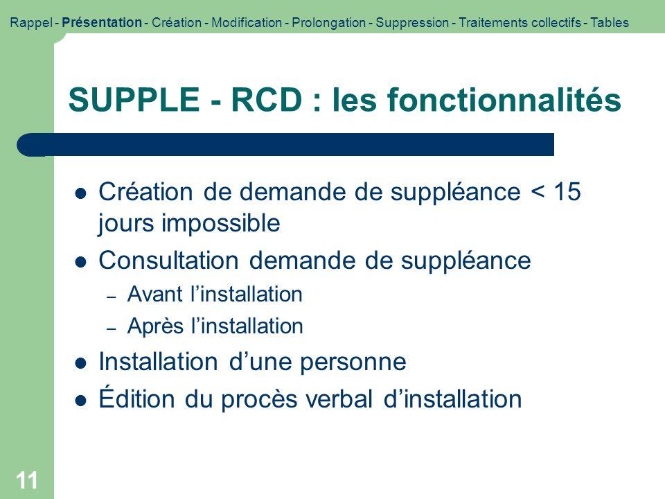 SUPPLE - RCD : les fonctionnalités