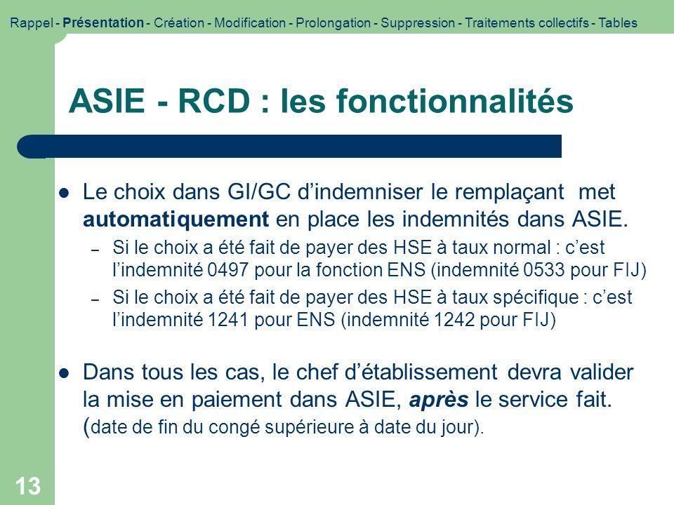 ASIE - RCD : les fonctionnalités