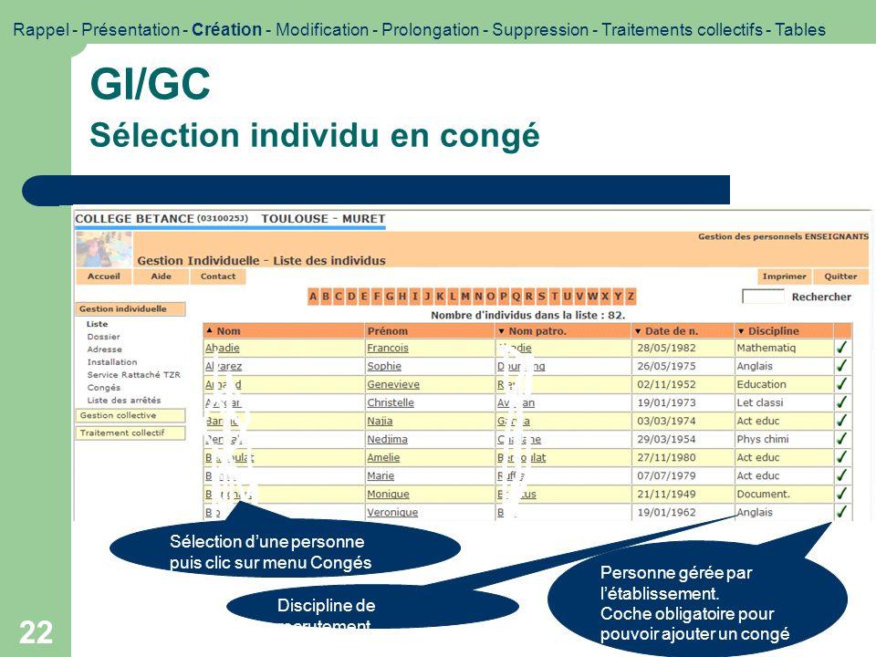 GI/GC Sélection individu en congé