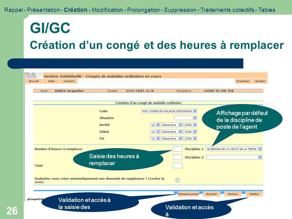 GI/GC Création d'un congé et des heures à remplacer