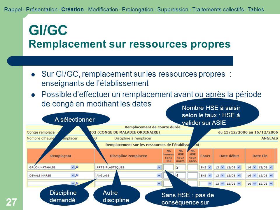 GI/GC Remplacement sur ressources propres