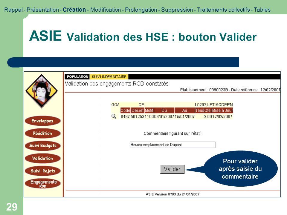 ASIE Validation des HSE : bouton Valider