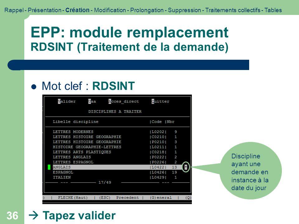 EPP: module remplacement RDSINT (Traitement de la demande)