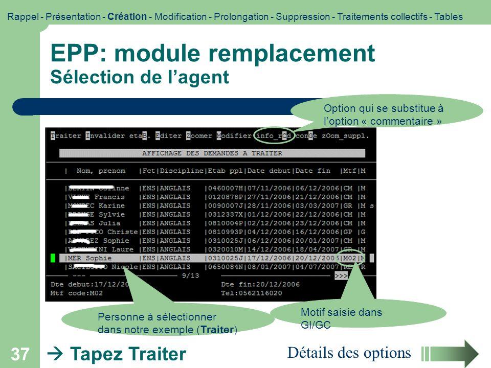 EPP: module remplacement Sélection de l'agent