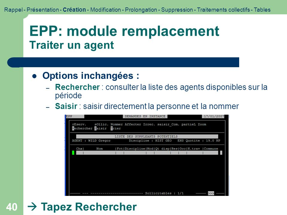 EPP: module remplacement Traiter un agent