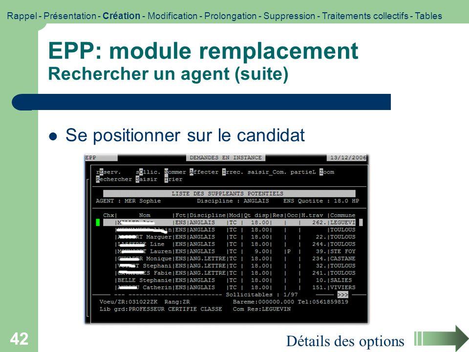 EPP: module remplacement Rechercher un agent (suite)
