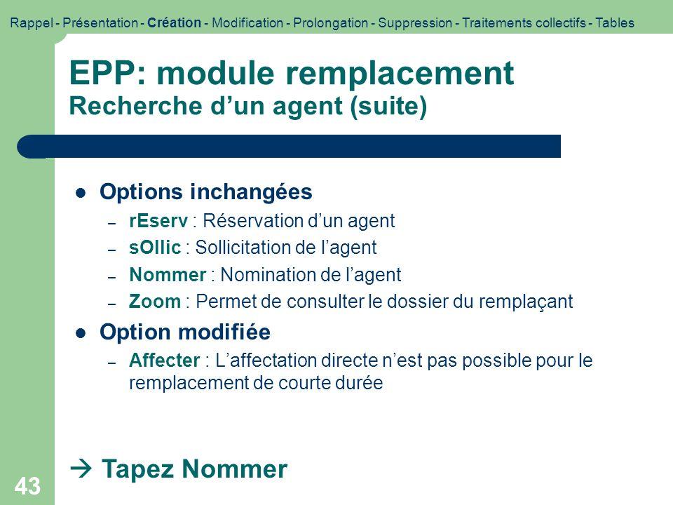 EPP: module remplacement Recherche d'un agent (suite)