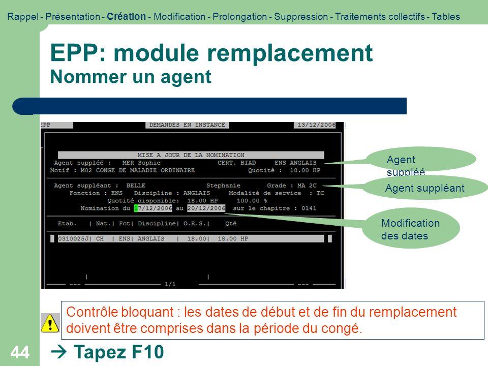 EPP: module remplacement Nommer un agent