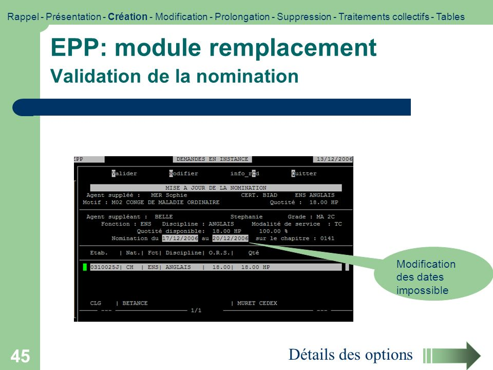 EPP: module remplacement Validation de la nomination