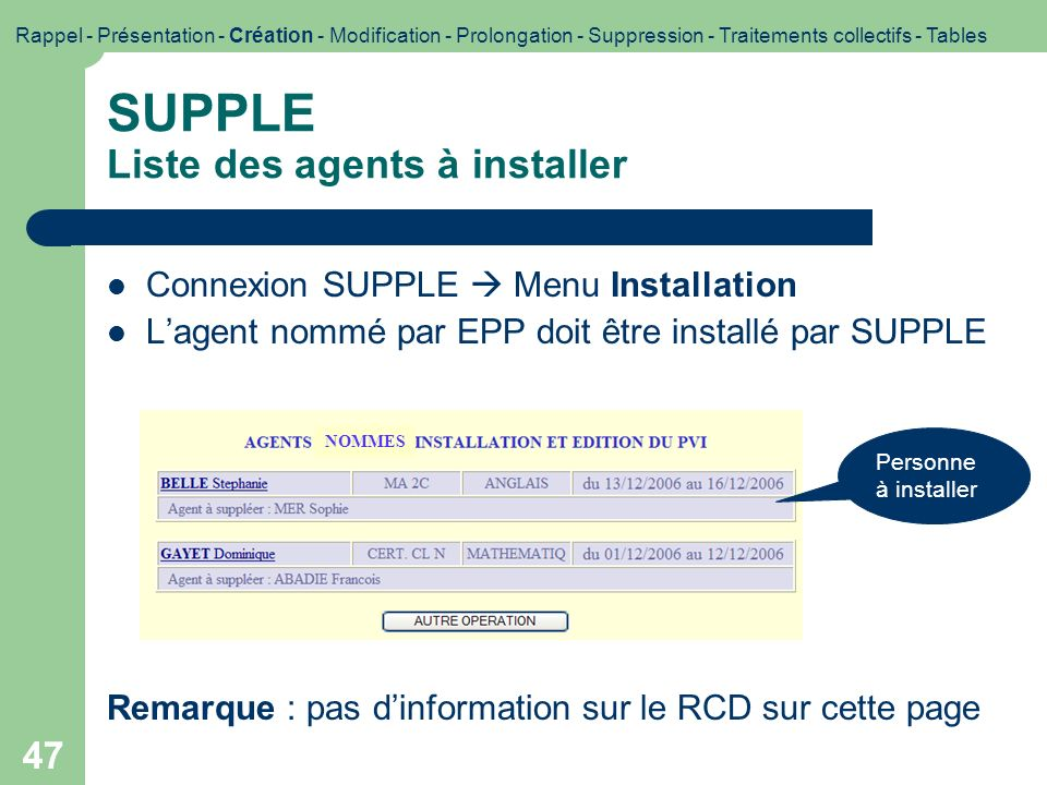 SUPPLE Liste des agents à installer