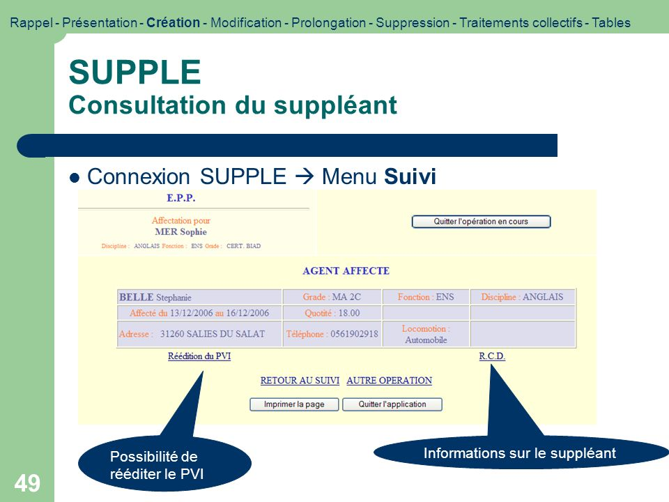 SUPPLE Consultation du suppléant