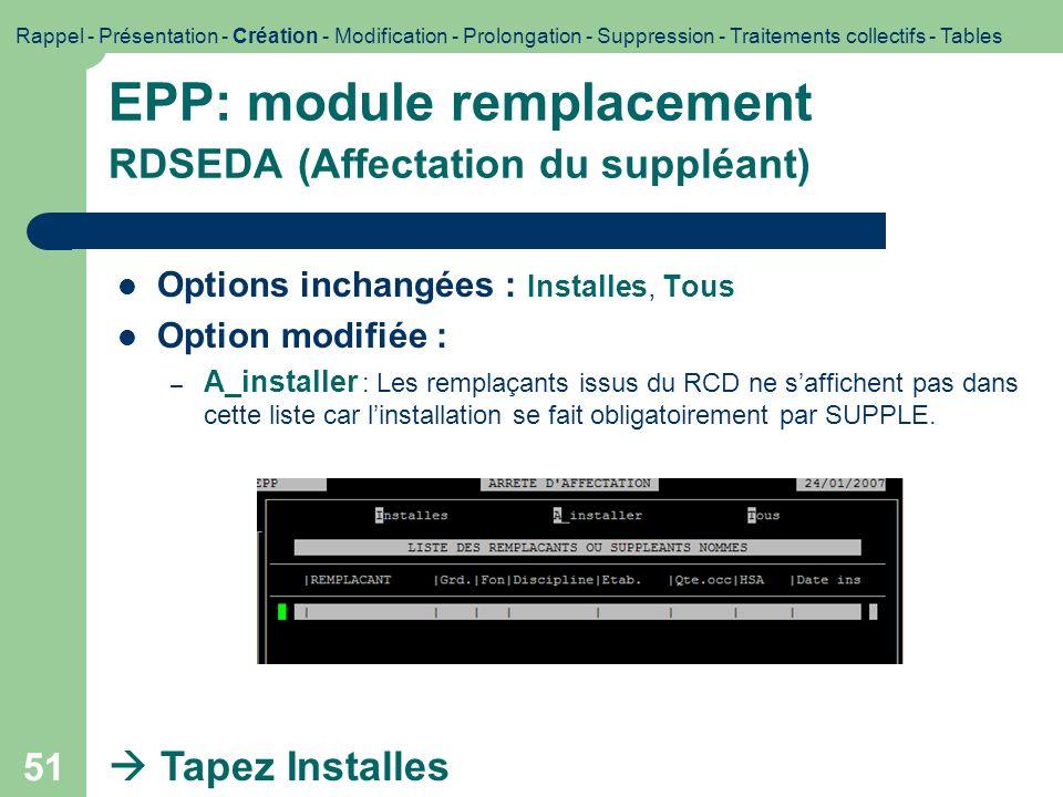 EPP: module remplacement RDSEDA (Affectation du suppléant)